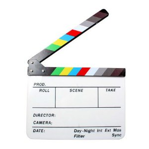 Claquete Cinema Profissional Branca Colorida C/ Imã