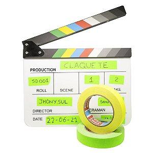 Kit Jhony Sul: Claquete + Fita Gaffer Verde + Amarela