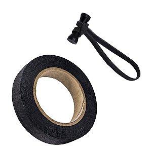 Fita de Tecido Gaffer Tape 24mm x 50m Preta + Magic Ties Preto
