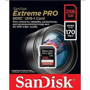 Cartão de memória Sandisk SDXC Extreme PRO 256Gb 170Mb/s