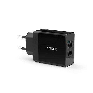 Carregador de Tomada Anker PowerPort 2 Preto PowerIQ 2.0