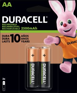 Pilha recarregável Duracell AA 2500mAh (Com 2)