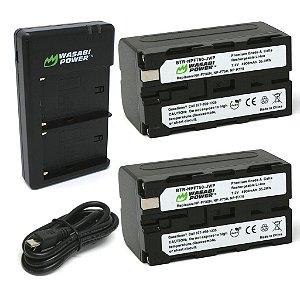 Kit Carregador Duplo + 2 baterias Wasabi NP-F750 (L Series) Premium