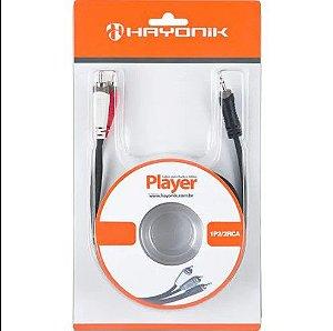 Cabo de Áudio Linha Player P2 x RCA2 3 Metros Preto HAYONIK