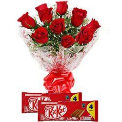 Lindo buquê de rosas vermelhas com Nestle Kit Kat