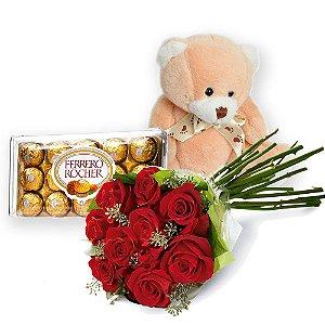 Buque de 06 rosas com Bombons Ferrero Rocher e Pelúcia