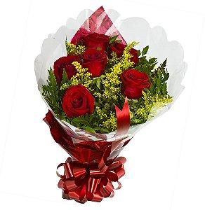 Buque de Flores   com 06 Rosas Nacionais