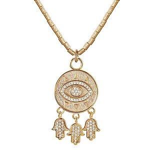 Gargantilha de olho grego E HAMSAS em semijoia banhado em ouro18k e zircônias em gargantilha de canutilhos foscados e diamantados