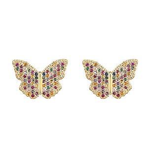 """Par de Brincos de borboletas, """"CRISTALINO"""" com zircônias coloridas em semijoia banhado em ouro 18k"""