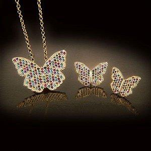 """Gargantilha e par de brincos borboleta da coleção """"CRISTALINO"""" com zircônias coloridas em semijoia banhado em ouro 18k"""