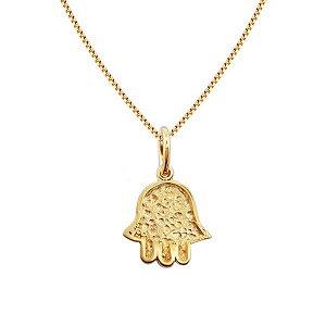 Gargantilha de HAMSA ou Mão de Fátima texturizada em semijoia banhado em ouro 18k