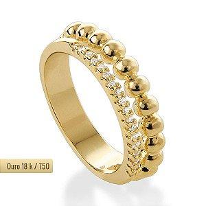 Anel aliança dupla de ouro18k / 750 e diamante na lapidação brilhante