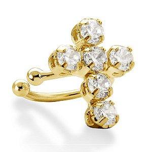 Par de brincos Piercing Cruz banhada em ouro 18 k / 750 com zircônias