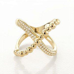 Anel amor infinito banhado em ouro 18k com zircônias