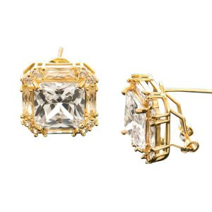 Par de Brinco banhado em ouro 18k com zircônias transparentes - Joia Arquétipo