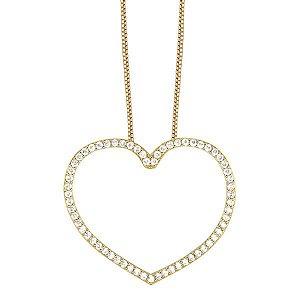 Gargantilha coração grande em ouro 18k / 750 com brilhantes