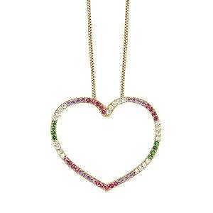 Gargantilha coração, em ouro18k com brilhantes, esmeraldas, safiras, ametistas e rubis redondos