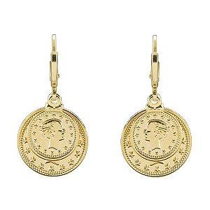 Par de Brincos moedas camafeu DOTS OF LOVE em ouro 18k / 750