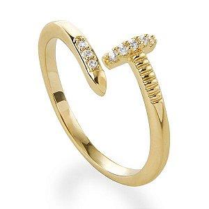 Anel pregar amor banhado em ouro 18k com zircônias incolores e calibradas