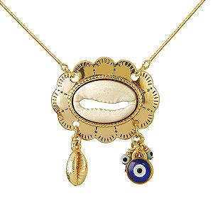GARGANTILHA DE BÚZIOS com olho grego de murano em semi joia banhado em ouro 18k
