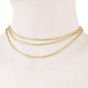 Gargantilha de canutilhos foscados e diamantados em semi joia banhado em ouro18k
