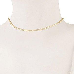 Choker Gargantilha semi joia banhado em ouro18k de canutilhos foscados e diamantados