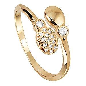 Anel aberto da coleção DOTS OF LOVE em semi joia banhada em ouro18k e zircônias