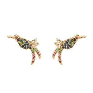 Par de brincos beija-flor com zircônias coloridas em banhado em ouro18k