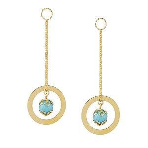 Par de brincos de turquesa em semi joia banhada em ouro 18k