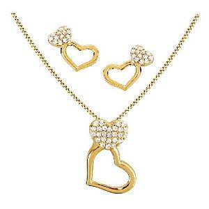 Conjunto Gargantilha + Par de Brincos de coração da Coleção Dots of Love Banhado em Ouro 18 k