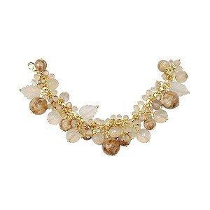 PULSEIRA de pedras naturais de amazonita nude, quartzo rutilado e quartzo amarelo em semi joia banhada de ouro18k.