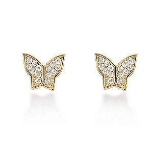 Par de brincos borboleta com zircônias em semi joia banhado em ouro18k
