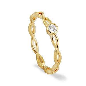 Anel infinito em semi joia banhado em ouro18k a 10mlm com zircônia incolor