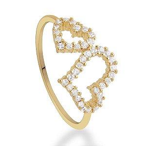 Anel 2 corações de semijoia banhado em ouro18k a 10mlm com zircônias incolores e calibradas
