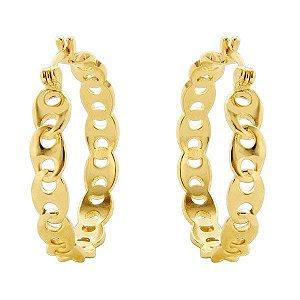 BRINCOS argola DE BÚZIOS pequena em semi joia banhado em ouro18k