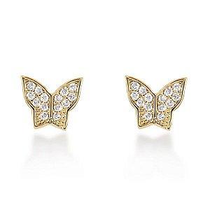 Par de brincos borboleta com 94 micros zircônias em semi joia banhado em ouro18k