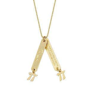 Gargantilha com duas medalhas e duas letras Hey da CABALA JUDAICA em semi joia banhado em ouro18k