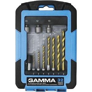 Kit de Acessórios para Furadeira e Parafusadeira com 32 Peças - GAMMA-G19511AC