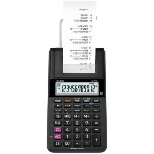 Calculadora De Mesa C/ Bobina Casio HR-8RC 12 Digitos Preta C/ Fonte Bivolt