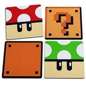 Jogo de Porta Copos Cogumelos e Blocos - Jogo Porta Copos Gamer