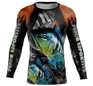 Camisa de Pesca Esportiva Átomo Proteção UV Manga Longa Preto/Laranja Adulto
