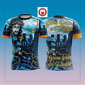 Camisa de Grau 1000 Graus Becos e Vielas Favela Quebrada Manga Curta Azul Dry Proteção UV