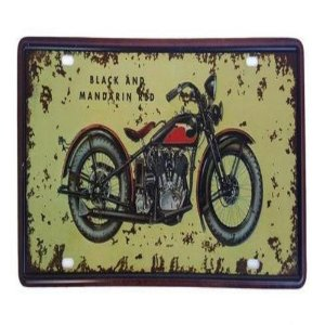 Placa De Metal Decorativa Black And Mandarin
