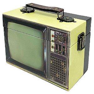 Caixa Decorativa de madeira TV retrô - amarelo e preto
