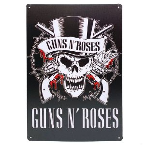 Placa de Metal Guns n' Roses - 30 x 20 cm