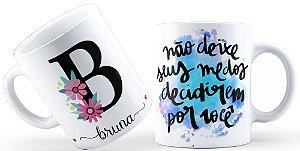 Caneca Floral Alfabeto Letra B
