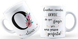 Caneca Floral Alfabeto Letra O