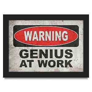 Quadro A4 Warning Genius at Work