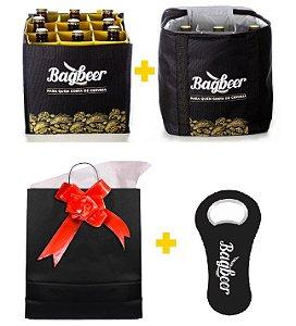Kit de presente - Bolsa Térmica + Bolsa Engradado +  Abridor de Garrafa + Sacola de Presente
