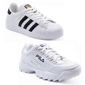 Kit 2 Pares Tênis Adidas Superstar Branco + Fila Disruptor II Branco